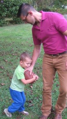Playing outside with daddy before dinner.