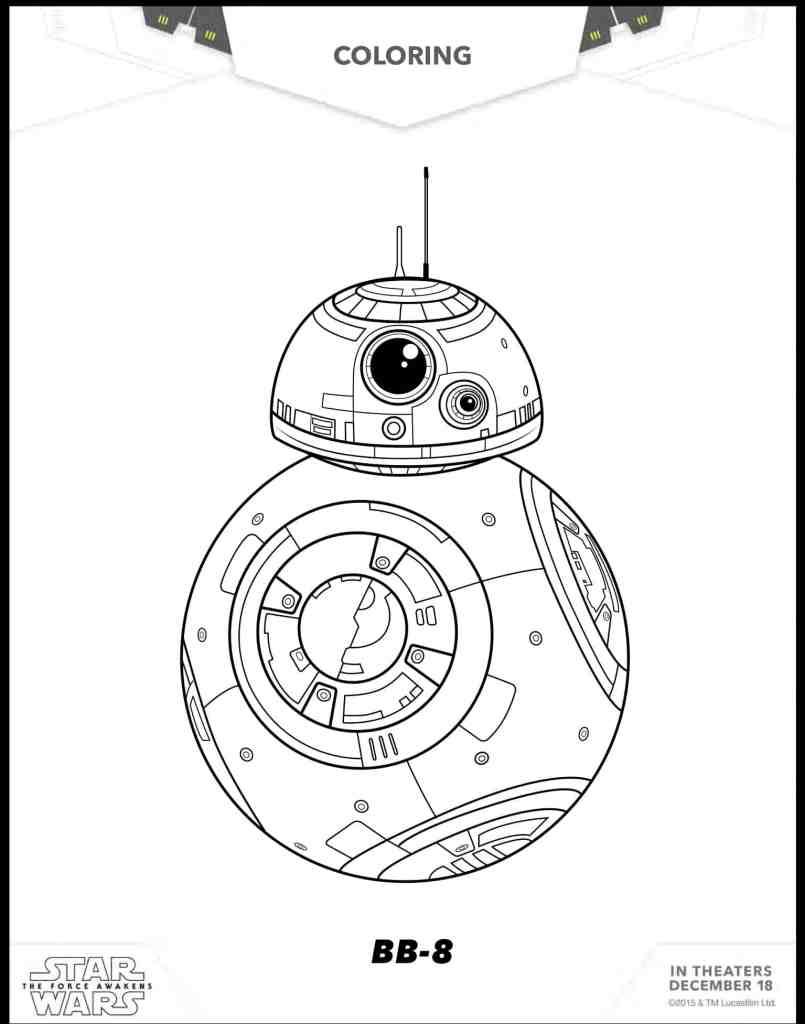 BB 8 dinujos para colorear gratis de Star Wars La Guerra de las Galaxias