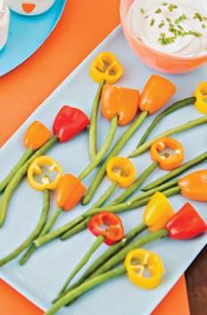 tulipanes de vegetales para pascua