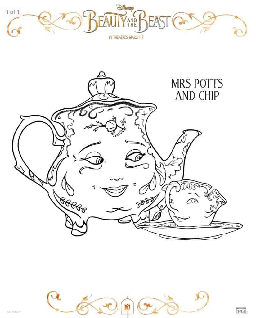 Dibujos para colorear Mrs Potts Bella y la bestia