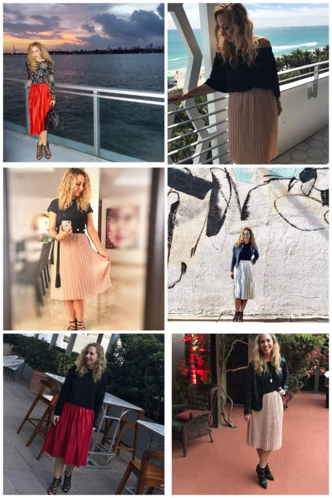 Ideas para lucir una falda plisada midi