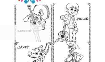 4 dibujos para colorear gratis de Coco de Pixar