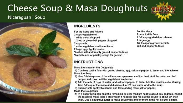 Cheese Soup With Masa Doughnuts Recipe Card