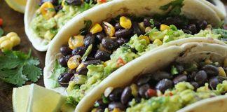 Vegetarian Mexican Salsa Roja Black Bean Taco Recipe