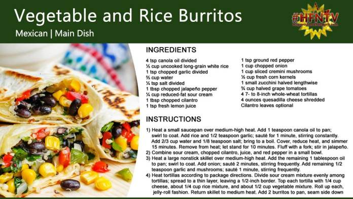 Vegetable and Rice Burritos