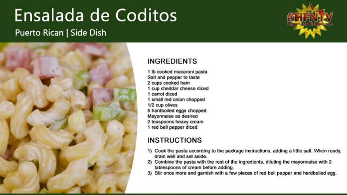 Ensalada de Coditos, a Puerto Rican Macaroni Salad