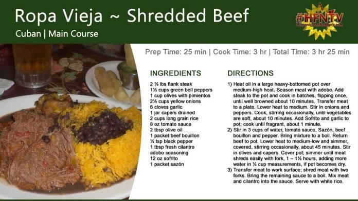 Ropa Vieja ~ Shredded Beef