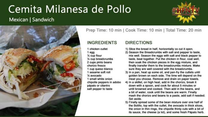 Cemita Milanesa de Pollo ~ Chicken Sandwich