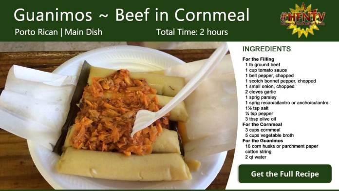 Guanimos ~ Cornmeal Beef Pockets Recipe Card