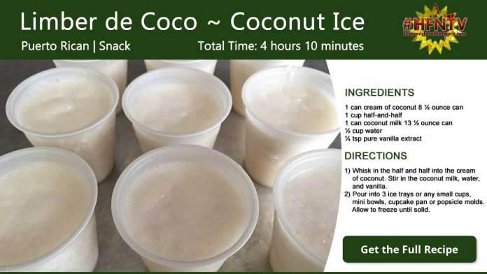 Limber de Coco ~ Coconut Ice Recipe Card