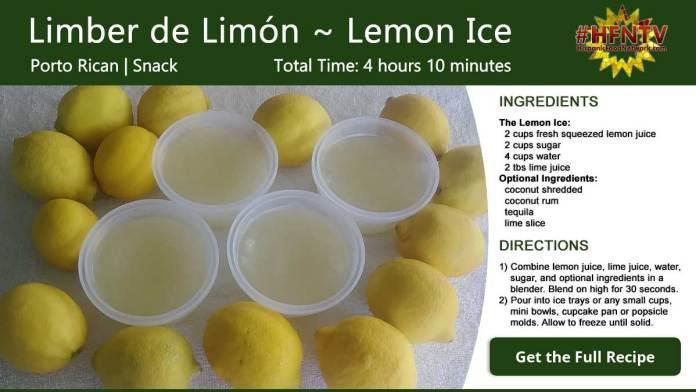 Limber de Limón ~ Lemon ice Recipe Card
