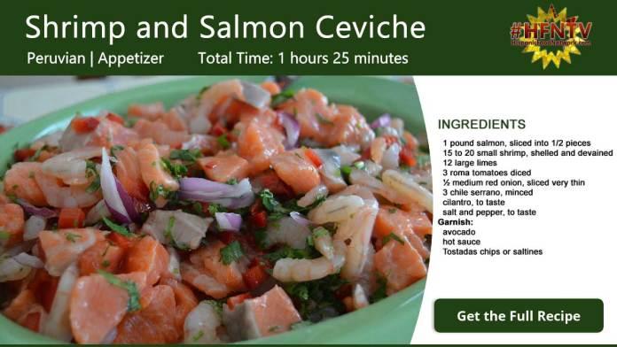 Shrimp and Salmon Ceviche Recipe Card