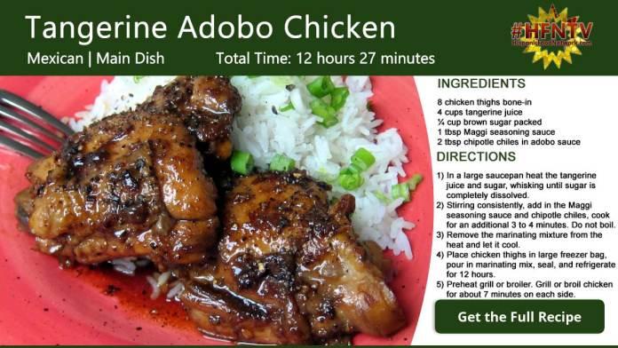 Tangerine Adobo Chicken Recipe Card