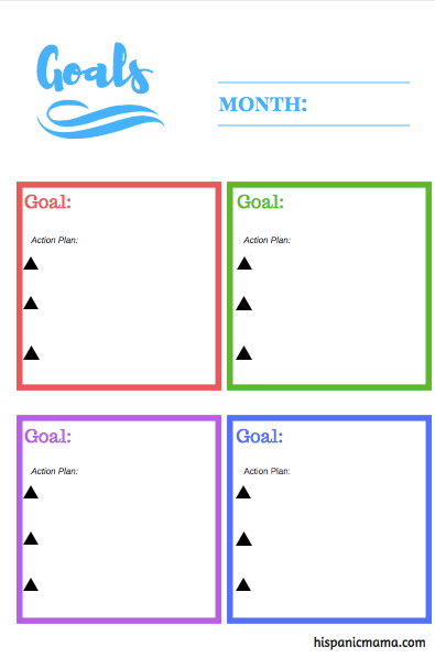setting goals bilingual printable