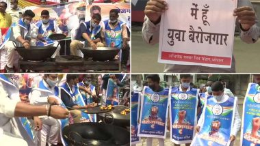 Congress Workers in Bhopal fry Pakoras: Congress protests in Madhya Pradesh over rising unemployment in the country, activists duck