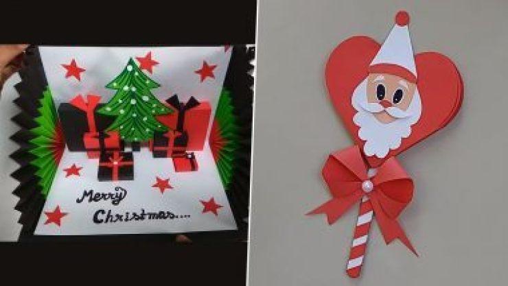 Christmas 2020 DIY Greeting Cards Ideas: घर पर कैसे बनाएं सैटा क्लॉस और क्रिसमस ट्री वाला ग्रीटिंग कार्ड? (Watch Tutorial Videos)