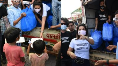 Sunny Leone along with husband Daniel Weber distributed food packets to the needy, see photos