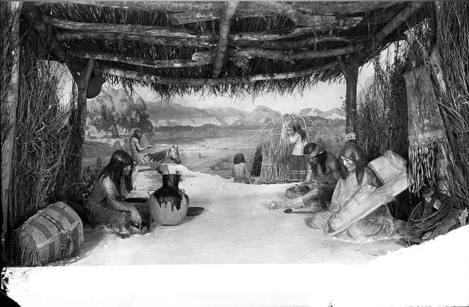 Apache life group diorama, Southwest Indian Hall, American Museum of Natural History, 1917; neg. no. 36554.