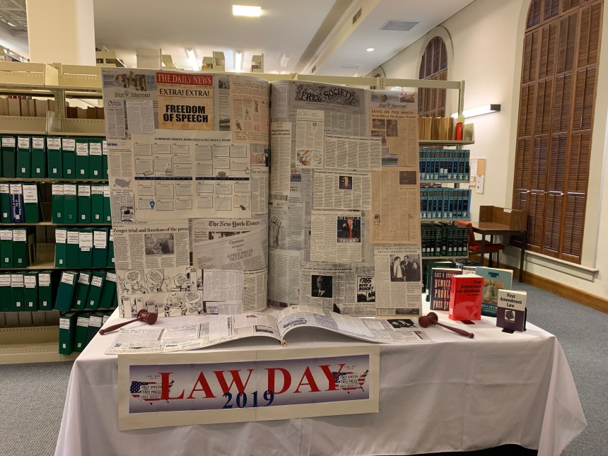 Picture of the law day display at the library