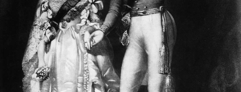 gravure en noir et blanc représentant la jeune reine Victoria et le Prince Albert lors de leur cérémonie de mariage en 1840