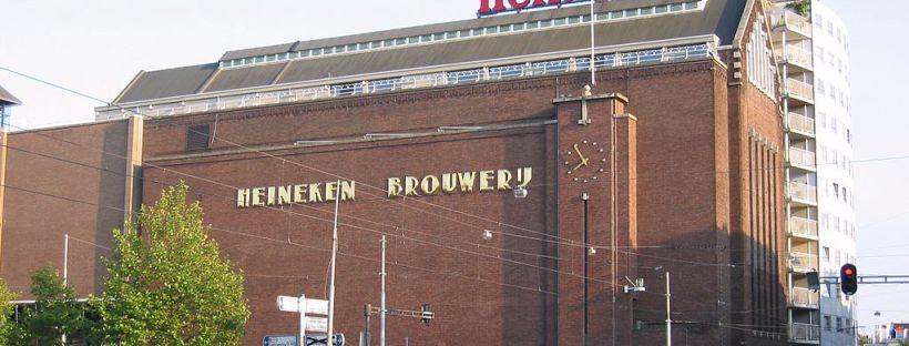 photo d'un bâtiment en briques de la brasserie Heineken à Amsterdam