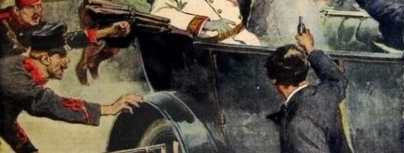 gravure en couleurs représentant l'assassinat du duc François Ferdinand à Sarajevo en 1914