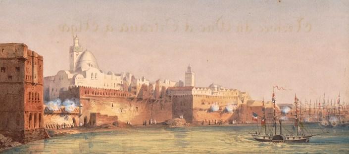 dessin en couleur représentant le port d'Alger au XIXe siècle