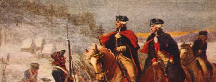 gros plan sur une partie d'un tableau repésentant le général Washington et Lafayette à cheval