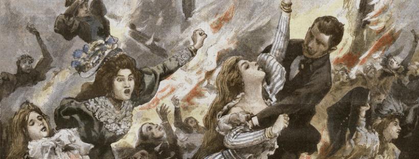Détail d'un dessin représentant l'incendie du Bazar de la Charité dans le Petit Journal, 16 mai 1897