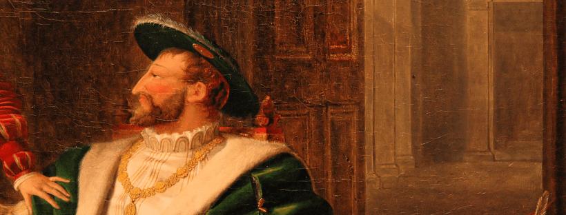 détail du tableau peint en 1804 par Fleury-Richard montrant François Ier assis en costume de la Renaissance