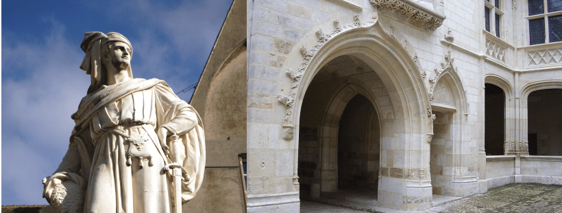 image composée de deux photos : l'une montrant la statue de Jacques Coeur, l'autre l'entrée se son palais à Bourges