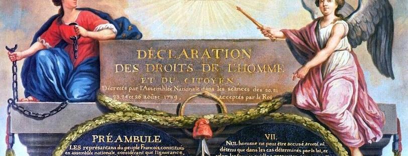gravure en couleur représentant la déclaration des droits de l'homme et du citoyen de 1789