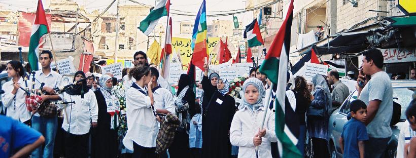 Photographie d'une manifestation annuelle commémorant les massacres de Sabra et Chatila, 19 septembre 2003
