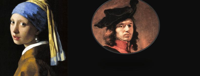 montage photo mêlant une reproduction du tableau de Vermeer la jeune fille à la parle et un autoportrait du peintre