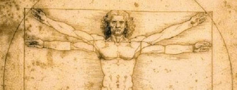Détail d'un dessin de l'homme de Vitruve, Léonard de Vinci