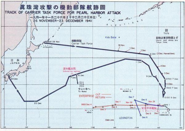 siły japońskie w drodze na Pearl Harbor