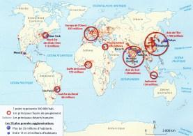 CARTE BREVET répartition de la population mondiale en 20111