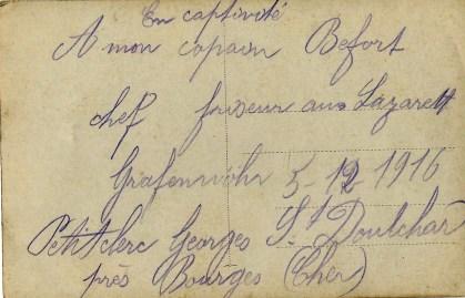 adressée par Georges PETITCLERC de Grafenwohr le 05121916 verso - collection Eliane Escot