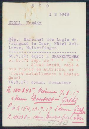 Archives du CICR - Prisonniers de la première guerre mondiale - Fredy Stoll
