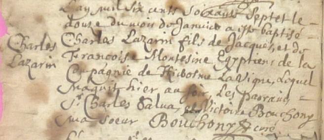 Baptême de Charles Lazarin, Egyptien