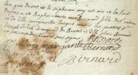 Naissance de Marie-Anne Bernard, fille de Sr Antoine et de Dlle Margueritte Laugier