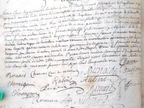 Mariage d'Ursulle Bernard, fille de Mr Antoine et de Dlle Margueritte Laugier, avec Sr Louis Charras