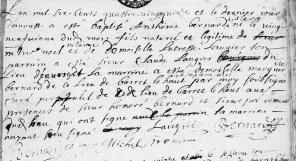 Naissance d'Antoine Bernard, dit Lacroix, fils de Noel et Lucresse Laugier