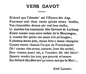 Vers Gavot, Abel Laugier