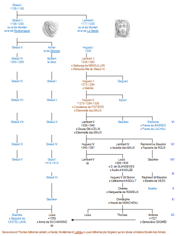 Généalogie (simplifiée) des Adhémar - Seigneurs de Lachau 1247-1600