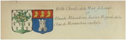 Armes de Charles de la Morte et de son épouse, Almade-Alexandrine-Justine-Renée de Lachau Montauban