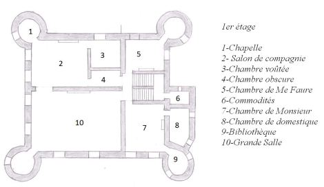Le château à la fin de l'ancien régime - plan du 1er étage
