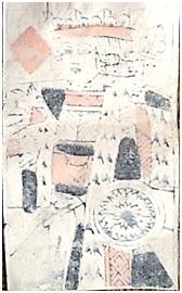 Carte à jouer ancienne trouvée lors de la réfection d'une chambre du deuxième étage du château de Lachau