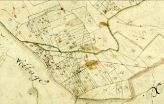 La cadastre de 1813 mettant en évidence le morcellement de l'ancien domaine du prieuré de ND de Calma