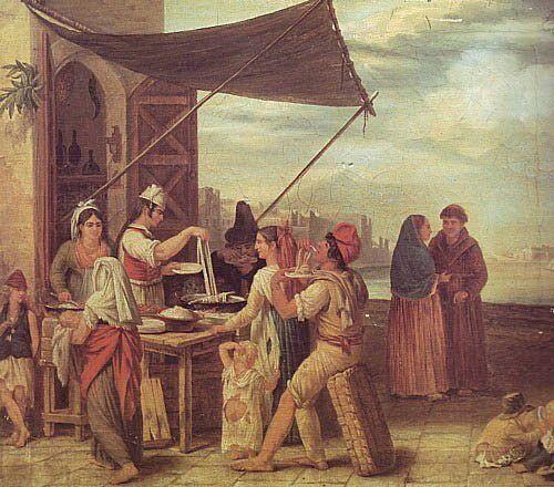 italiens mageant des pâtes